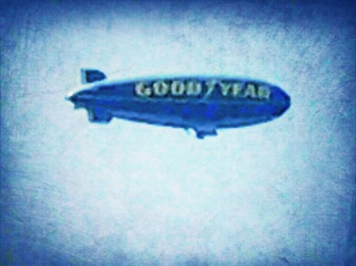 GOOD YEAR BLIMP LEAVING TOWN AFTER LITTLE LEAGUE WEEK
