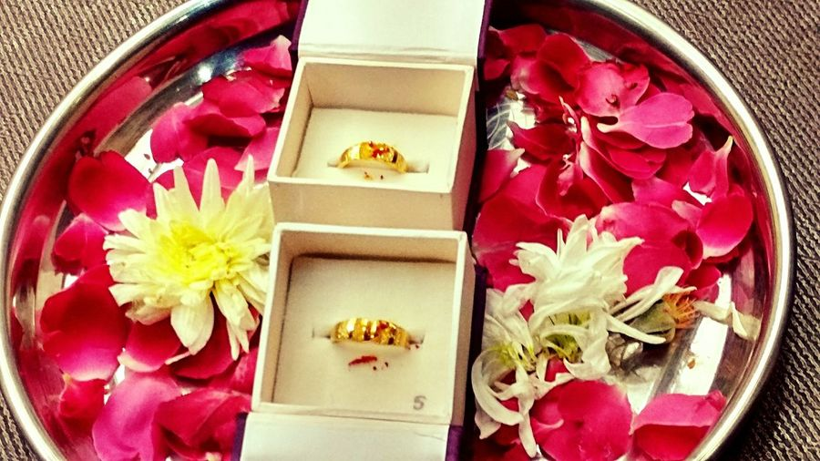 Wedding Rings Couple Hitched Engaged Together Forever Love Indian Gold Rings Flowers Decoration